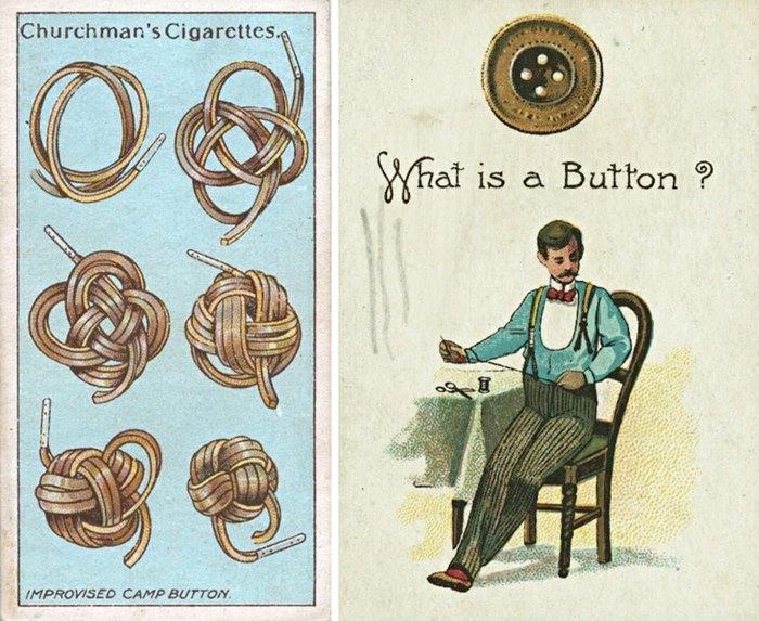 Zwei Zigarettenkarten aus der Zeit um 1900 zum Thema Knöpfe (beide: The New York Public Library, Digital Collections).