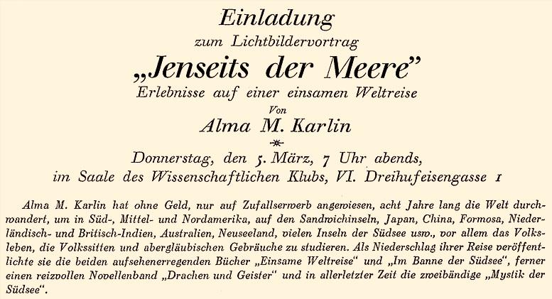 """Vortragsankündigung in der Wiener Zeitschrift """"Die Österreicherin"""", 1. März 1931"""