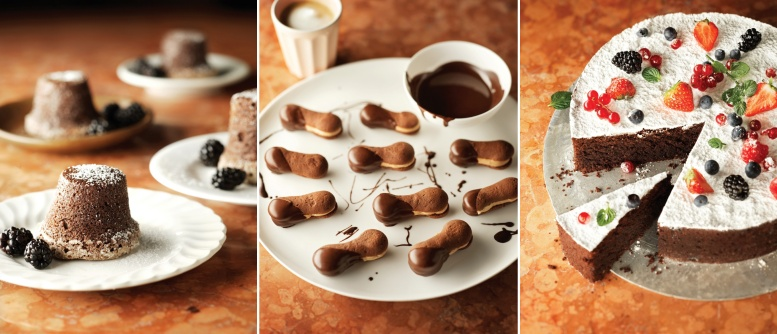 Aus dem Rezeptteil (von links nach rechts): Schokoladensoufflé – Nero Kekse – Torta Caprese, Fotos © HM Chocolat Verlag