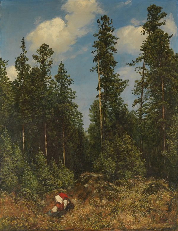 Hans Thoma: Schwarzwaldtannen (auch: Wald mit Beerenleserinnen), 1884. Wikimedia Commons.