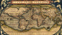 """Weltkarte aus dem 1570 erschienenen """"Theatrum Orbis Terrarum"""" von Abraham Ortelius"""