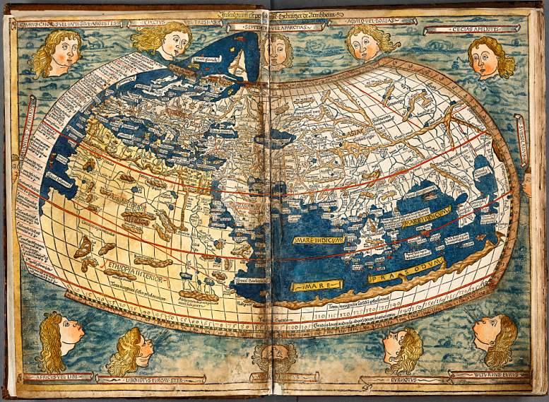 """Von Johannes Schnitzer gezeichnete Weltkarte aus dem 1482 publizierten """"Ulmer Atlas"""", der auf der """"Cosmographia"""" von Ptolemäus basiert."""