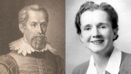 Links: Johannes Kepler (Stahlstich von Karl Barth, Rijksmuseum Amsterdam). Rechts: Rachel Carson (Foto, um 1940, Wikimedia Commons)