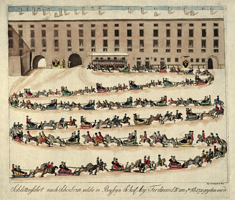 Johann Hieronymus Löschenkohl (1753–1807): Die Schlittenfahrt nach Schönbrunn für König Ferdinand IV. von Sizilien am 9. Februar 1791 (Sammlung Wien Museum)
