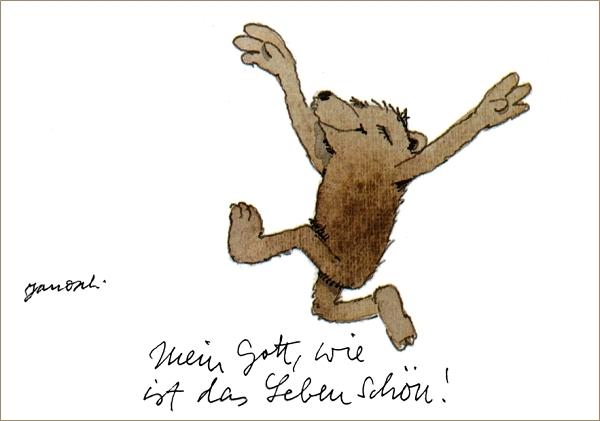 """Janosch: """"Mein Gott, wie ist das Leben schön!"""", Aquarell © Janosch/ Little Tiger Verlag"""
