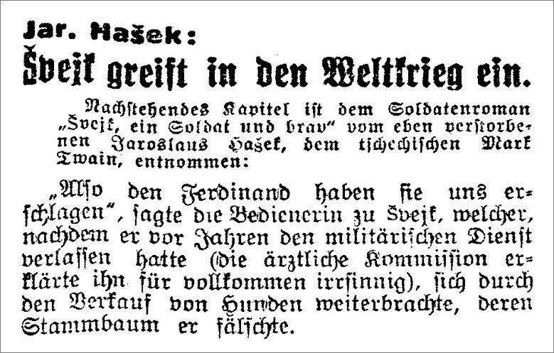 """Die von Max Brod erstellte erste Übersetzung des """"Švejk"""" (Ausschnitt)"""