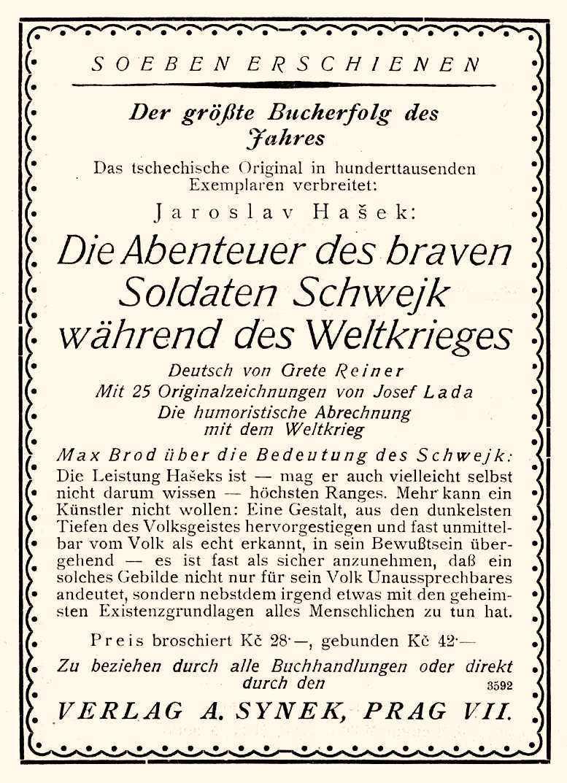 """Diese großformatige Werbung für die deutschsprachige Übersetzung des Romans erschien am 30. April 1926 im Wiener """"Anzeiger für den Buch-, Kunst- und Musikalienhandel"""""""