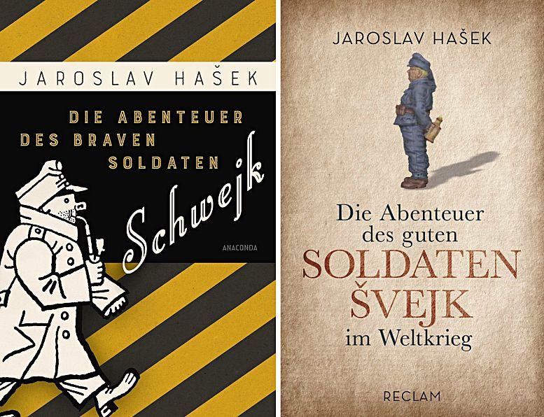 Links: Die neueste Ausgabe von Hašeks Roman in der Übersetzung von Grete Reiner, erschienen im Anaconda Verlag. Rechts die von Antonín Brousek erstellte Fassung aus dem Reclam Verlag.